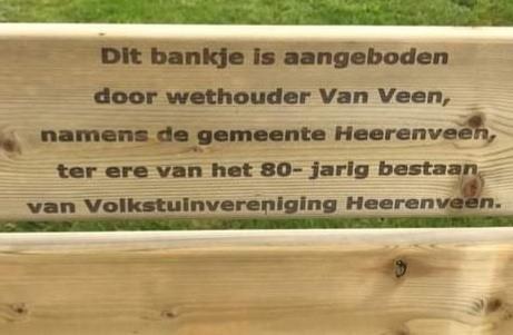Augustus 2021 . Bankje aangeboden door wethouide3r Van Veen.
